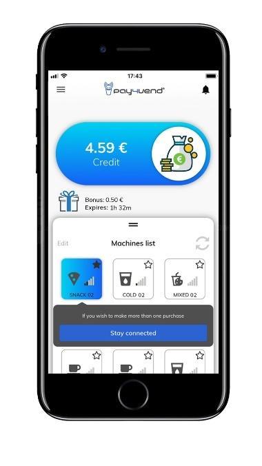 Pay4Vend app per acquistare dal distributore automatico con smartphone